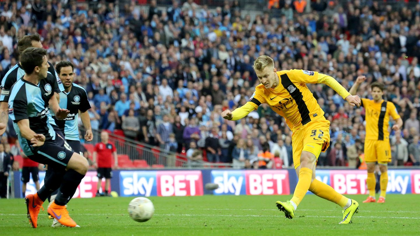 Joe Pigott scores in injury time of extra time in the Play-Off Final